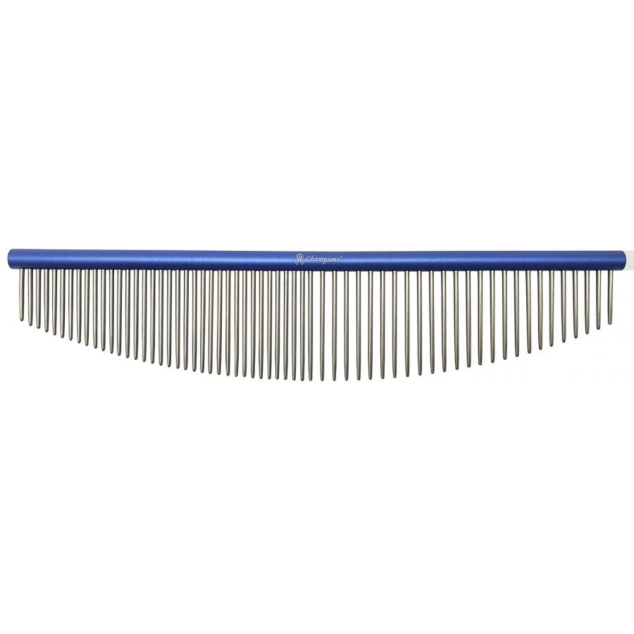 'Half Moon' Fém Fésű 50/50 fogsűrűség, kerek profil, hossz 18 cm